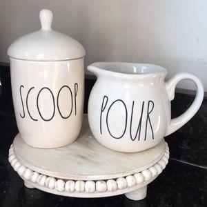 New Rae Dunn Cream Sugar Scoop Pour set coffee bar